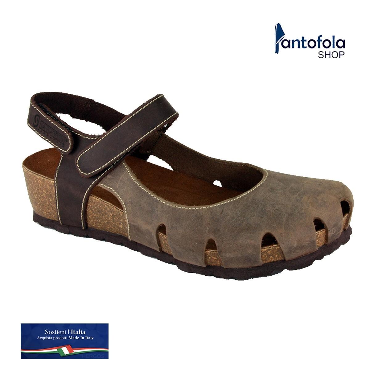 Sabatini 927 Testa di Moro / Rosso - Sandalo comodo con doppio strappo- Vera pelle