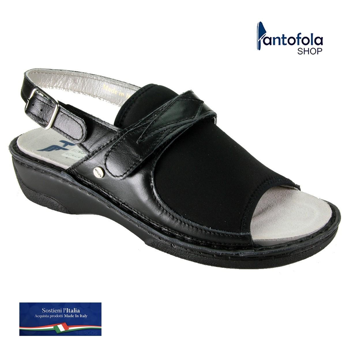 Hergos H 151 Nero Setaelast - Novità 2020 - Sandalo comodo per alluce valgo - Vera pelle