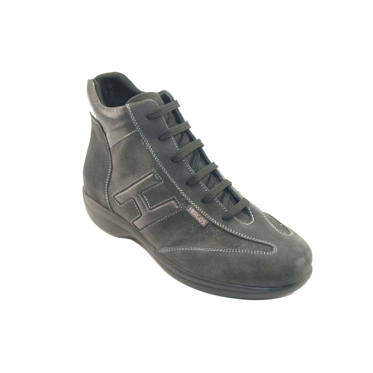 H 9102 Grigio - Scarpa comoda ed elegante, vera pelle e camoscio